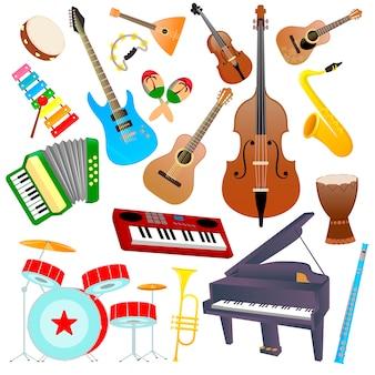 Zestaw instrumentów muzycznych na białym tle
