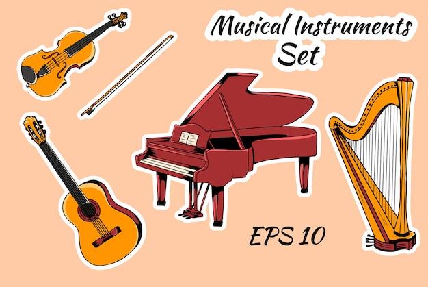 Zestaw instrumentów muzycznych. zestaw instrumentów strunowych, harfa fortepianowa, gitara skrzypcowa