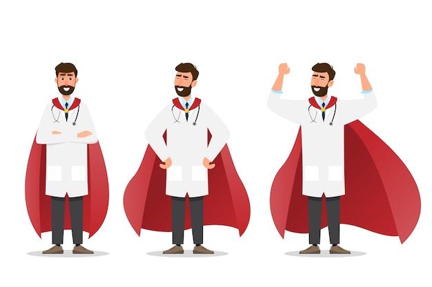 Zestaw Inteligentnego Super Lekarza Przedstawiającego W Innym Charakterze Na Białym Tle. Płaski Styl Kreskówki Premium Wektorów