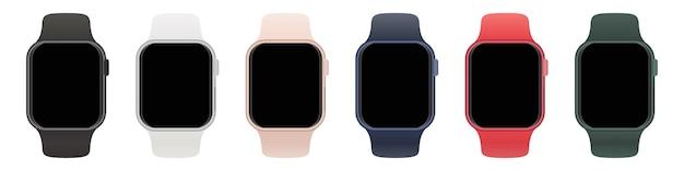 Zestaw inteligentnych zegarków z różnymi paskami i pustym ekranem