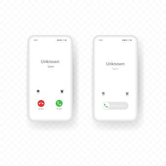 Zestaw interfejsów do połączeń przychodzących na telefony komórkowe. szablon smartfona z ekranem połączenia.