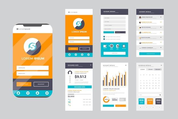 Zestaw interfejsu aplikacji bankowej