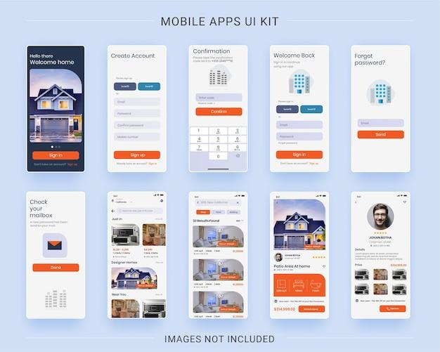 Zestaw interfejsu aplikacji mobilnej dla nieruchomości