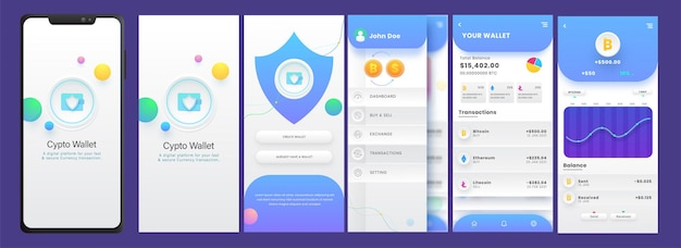 Zestaw interfejsu aplikacji mobilnej portfela kryptowalut, w tym zestaw do tworzenia konta