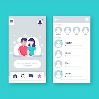 Zestaw interfejsu aplikacji randkowej