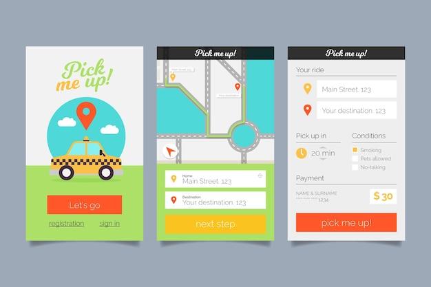 Zestaw interfejsu aplikacji taksówek