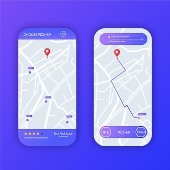 Zestaw interfejsu aplikacji taxi na smartfonie
