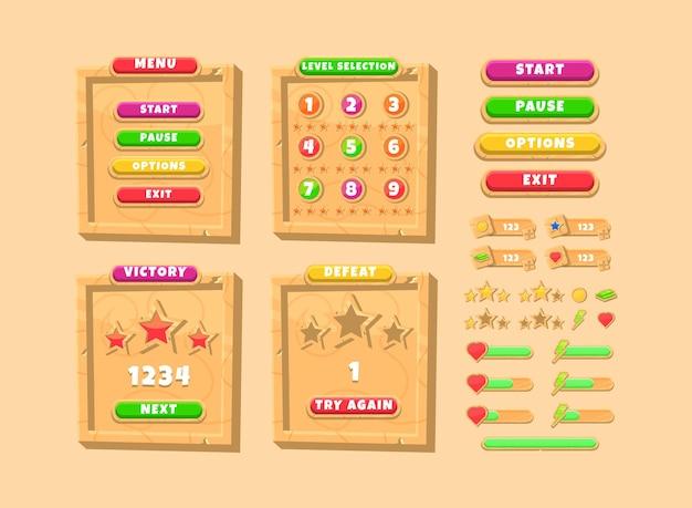 Zestaw interfejsu do wyskakującego ekranu z drewnianym interfejsem użytkownika gry z przyciskiem i paskiem wskaźnika postępu
