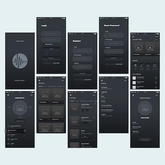 Zestaw interfejsu odtwarzacza muzyki