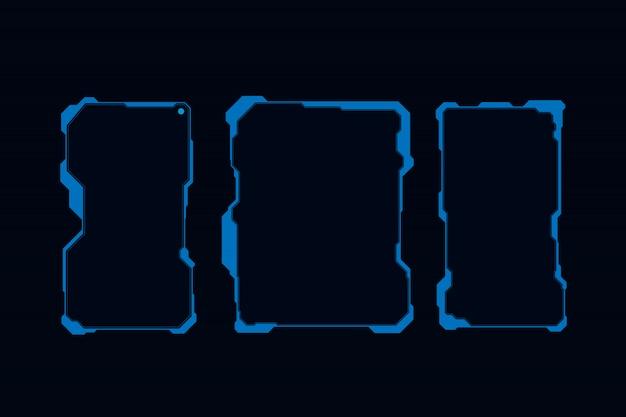 Zestaw interfejsu sterowania ekranami futurystycznego użytkownika hud