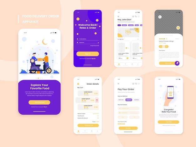 Zestaw interfejsu użytkownika aplikacji mobilnej do dostarczania posiłków, w tym rejestracja, menu żywności, rezerwacje i ekrany przeglądu rodzajów usług domowych
