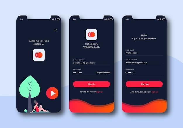 Zestaw interfejsu użytkownika do ekranów logowania muzyki do szablonów aplikacji mobilnych