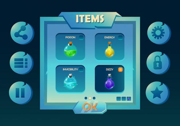 Zestaw interfejsu użytkownika do gry fantasy z wyskakującym menu wyboru eliksirów i różnymi ikonami