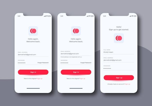 Zestaw interfejsu użytkownika ekranów logowania do szablonów aplikacji mobilnych