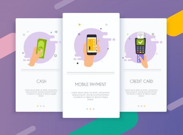 Zestaw interfejsu użytkownika ekranów wprowadzających dla szablonów aplikacji mobilnych koncepcji metod płatności.