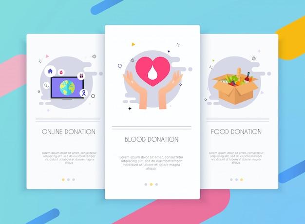 Zestaw interfejsu użytkownika ekranów wprowadzających do koncepcji szablonów aplikacji mobilnych darowizny.