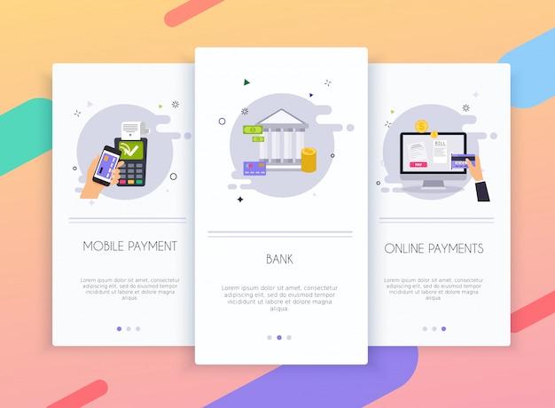Zestaw interfejsu użytkownika ekranów wprowadzających do szablonów aplikacji mobilnych koncepcji metod płatności online.