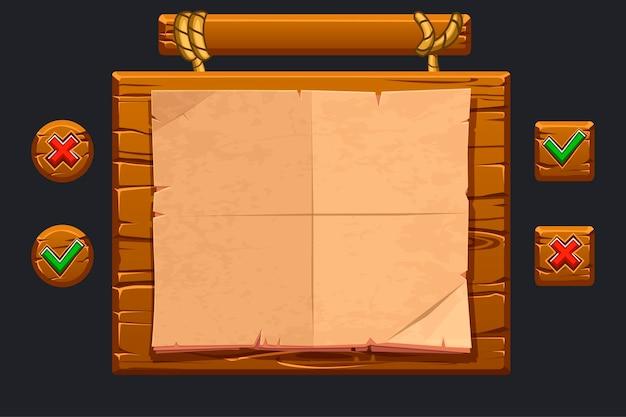 Zestaw interfejsu użytkownika gry. szablon drewniane menu z graficznym interfejsem użytkownika gui i przyciskami do tworzenia gier.