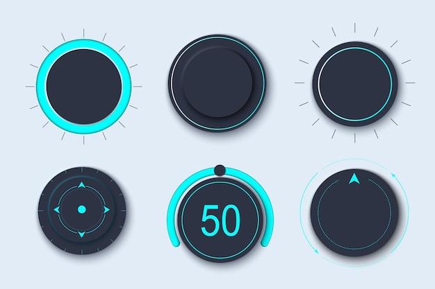 Zestaw interfejsu użytkownika neumorph z pokrętłem głośności i przełącznikami