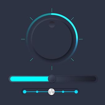 Zestaw interfejsu użytkownika neumorph z pokrętłem głośności i suwakiem