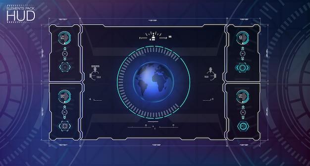 Zestaw interfejsu użytkownika sky-fi. futurystyczny docelowy interfejs użytkownika dotykowego. tło z futurystyczną koncepcją.