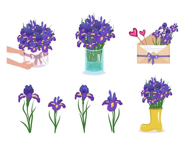 Zestaw irysów, kwiatów w okrągłym pudełku, wazonie i kopercie. płaska ilustracja