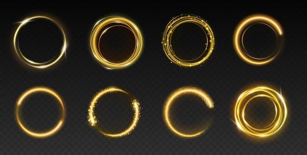 Zestaw iskrzących złotych kółek do projektowania. elementy dekoracji szablonu, złote ramki pierścionki z błyszczącym i brokatem na białym tle na ciemnym tle. realistyczna ilustracja wektorowa