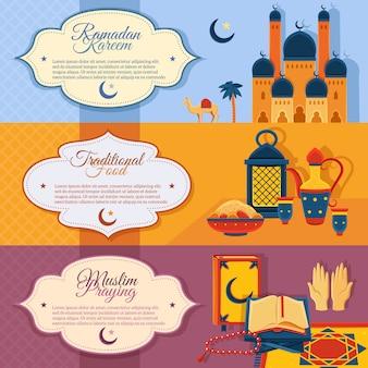 Zestaw islamskich banerów