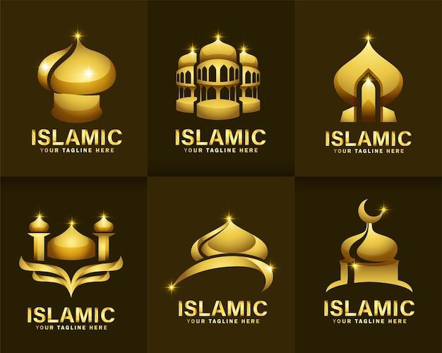 Zestaw islamskiego koloru złota i luksusowego logo