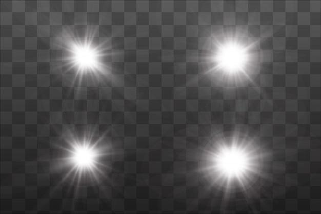 Zestaw istniejących złotych świecących efektów świetlnych.