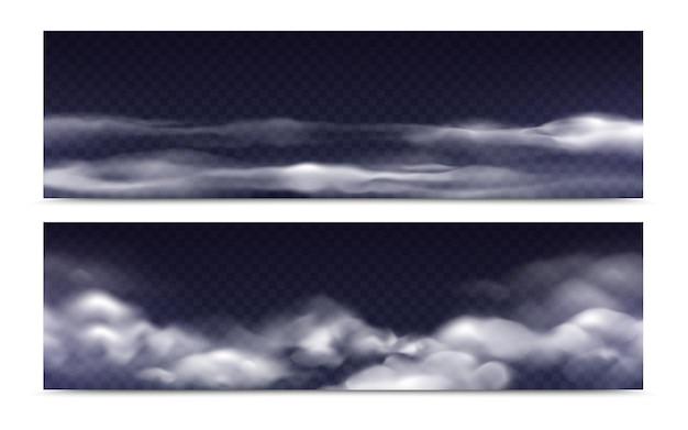 Zestaw izolowanych chmur mgły