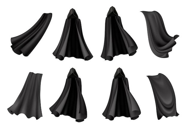 Zestaw izolowanych czarnych płaszczy z realistycznymi kostiumami śmierci na halloween