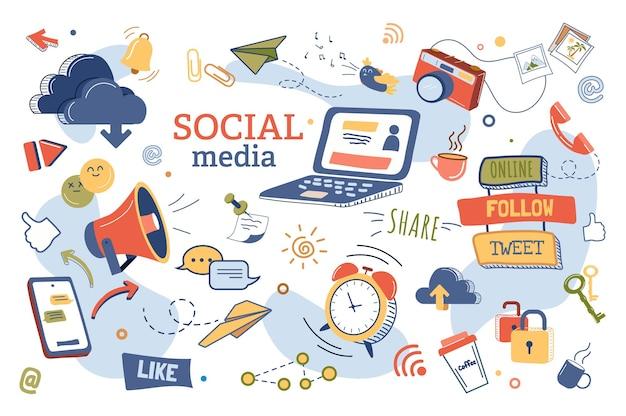 Zestaw izolowanych elementów koncepcji mediów społecznościowych