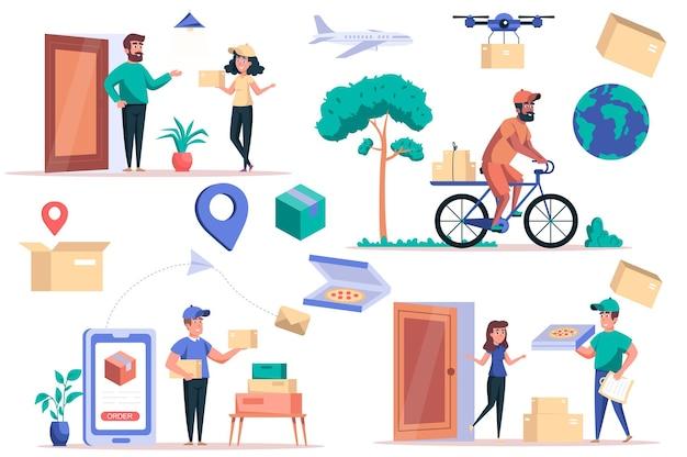 Zestaw izolowanych elementów usługi dostawy pakiet kurierów dostarcza paczki lub pizzę do klientów