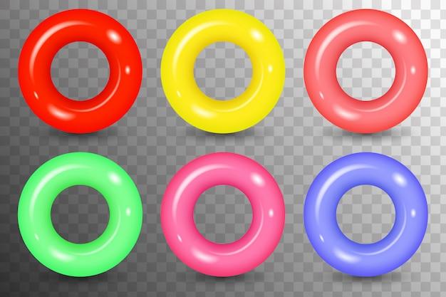 Zestaw izolowanych gumowe kolorowe pierścienie do pływania. kolorowe ikony pływać pierścień w stylu płaski. koło pływackie widok z góry na ocean, morze, basen.