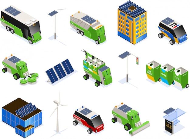 Zestaw izolowanych inteligentnych ekologii miejskiej ikony izometryczny z futurystycznych budynków jednostek transportowych i baterii słonecznych