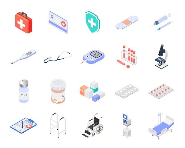 Zestaw izolowanych izometrycznych ikon medycznych