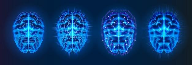 Zestaw izolowanych niebieskich świecących mózgów z liniami połączeń neuronowych