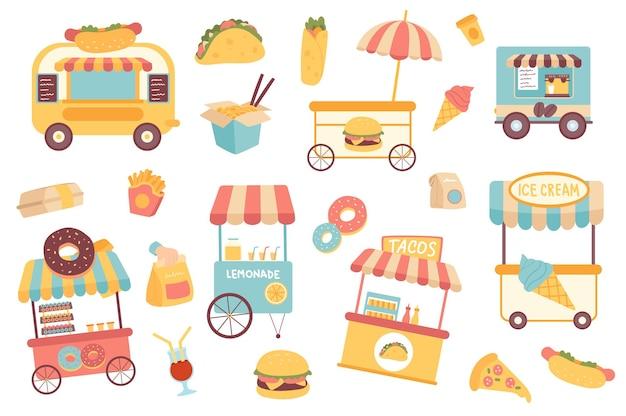 Zestaw izolowanych obiektów fast food kolekcja ciężarówek spożywczych sklepy uliczne pączki tacos lody