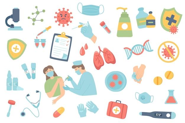 Zestaw izolowanych obiektów szczepień przeciwko koronawirusowi kolekcja wstrzyknięć lekarza do maski pacjenta
