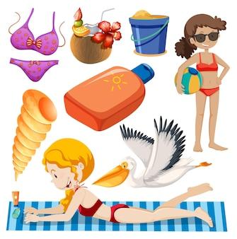 Zestaw izolowanych obiektów tematycznych letnich wakacji