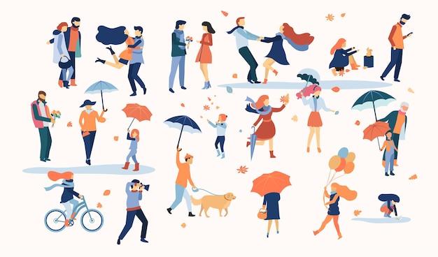 Zestaw izolowanych postaci ludzi chodzących na zewnątrz w jesiennym parku flat