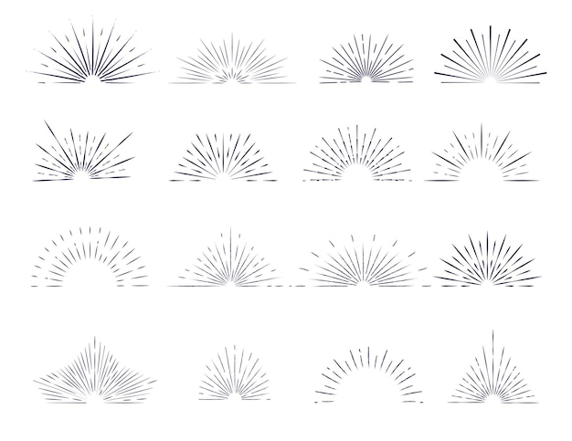 Zestaw izolowanych promieni sunburst konturowych z elementami projektu logo na białym tle.