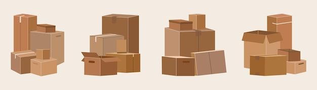 Zestaw izolowanych pudeł kartonowych do przenoszenia.