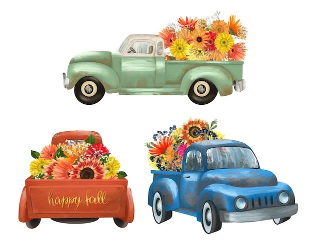 Zestaw izolowanych, ręcznie malowanych zabytkowych ciężarówek z jesiennymi jasnymi kwiatami, żniwami clipart