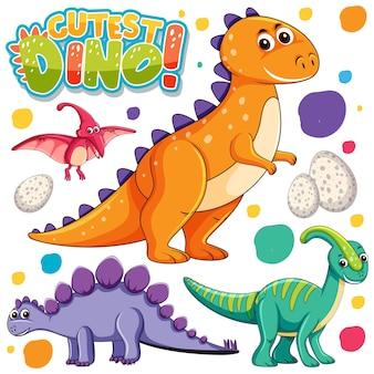 Zestaw izolowanych różnych postaci z kreskówek dinozaurów na białym tle