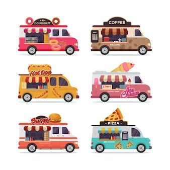 Zestaw izolowanych ulicznych ciężarówek z jedzeniem ilustracji wektorowych