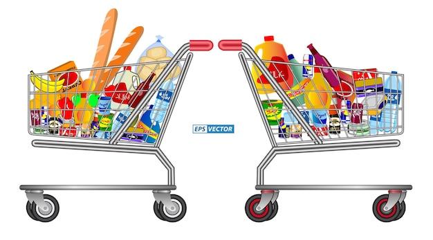 Zestaw izolowanych wózków sklepowych pełnych produktów spożywczych, owoców i artykułów spożywczych