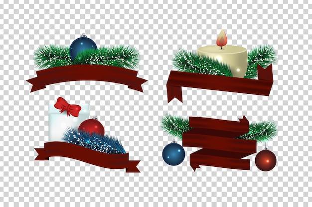 Zestaw izolowanych wstążek z gałęzi jodłowych i ozdób choinkowych do sprzedaży banerów i pokrycia na przezroczystym tle
