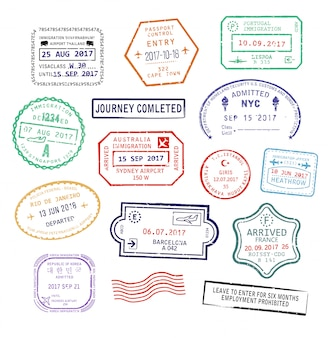 Zestaw izolowanych znaczków paszportowych do podróży do usa, miasta sydney w australii lub francji
